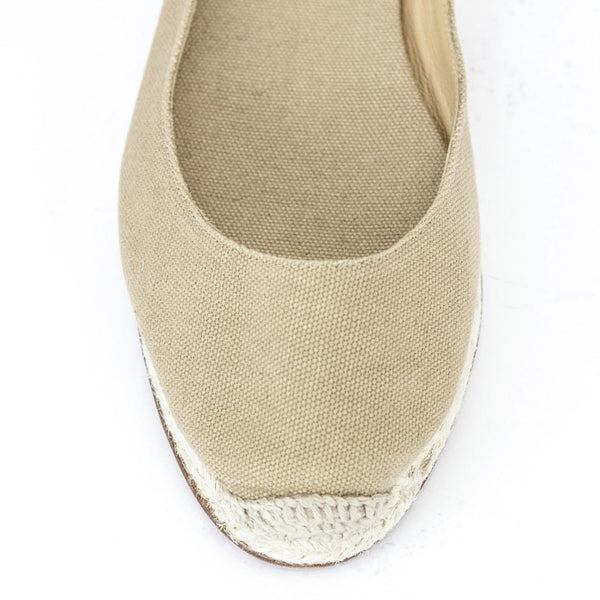 Christian Louboutin tan espadrille flats with canvas insoles