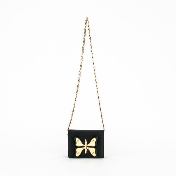 Gucci black satin handbag with gold butterfly