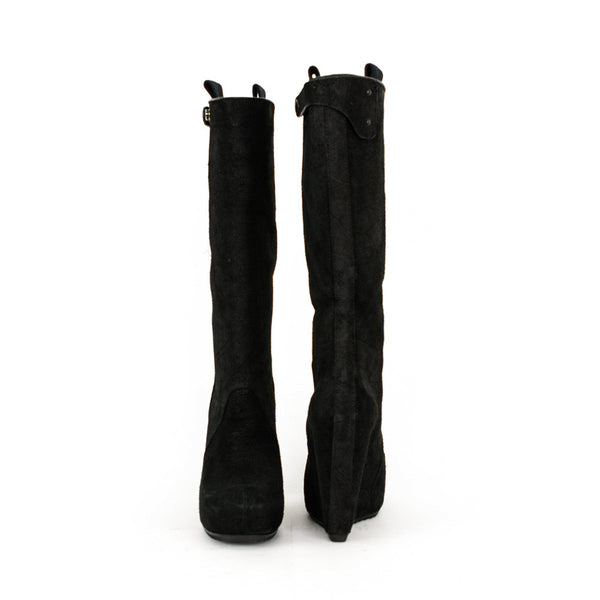 Rick Owens black leather high wedge boots made in Italy
