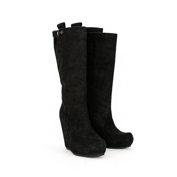 Rick Owens black leather high hidden wedge boots
