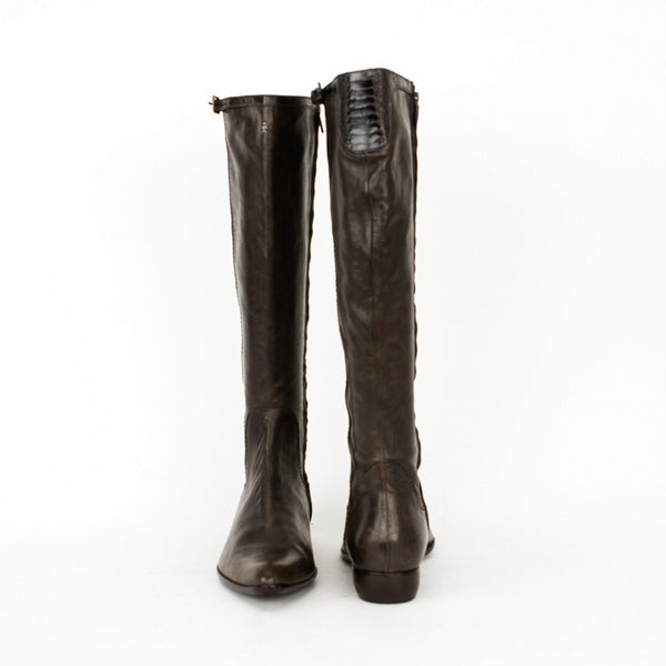 Henry Beguelin brown leather knee high boots size 11