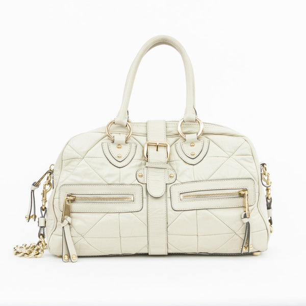 Marc Jacobs large beige quilted leather handbag with exterior pockets