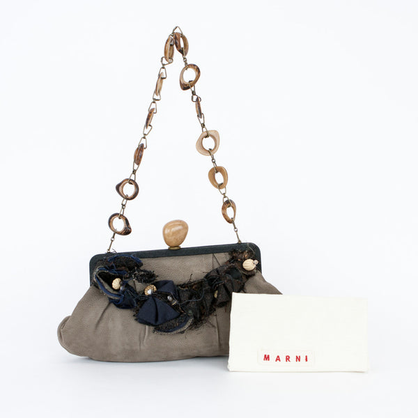 Marni Gray Baguette Handbag with ruching detail