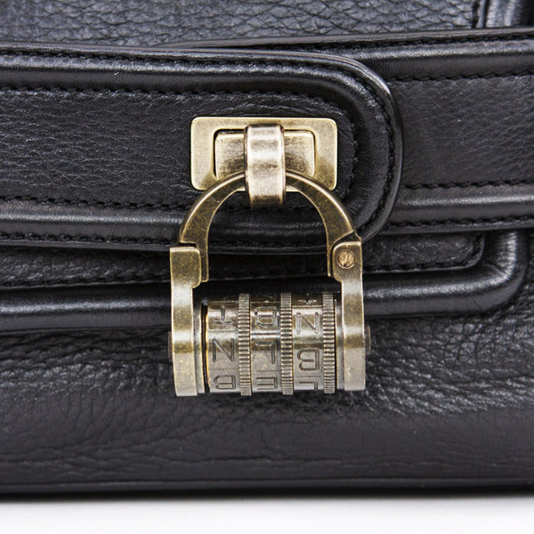 Derek Lam Black Leather Baguette Handbag With Combination Lock