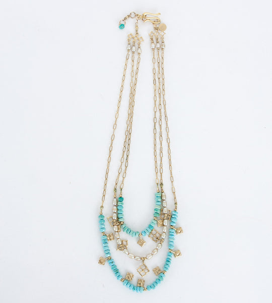 Elizabeth Showers turquoise and pearl layered necklace
