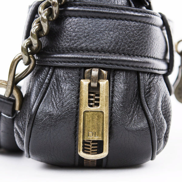 Derek Lam Black Leather Baguette Handbag With Designer Initial Engraved Zipper Pulls