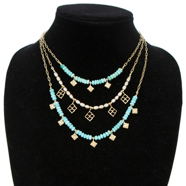 Elizabeth Showers | Turquoise & Pearl Layered Necklace