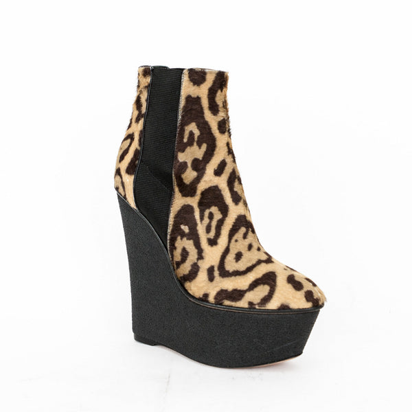 Giambattista Valli leopard print wedge booties