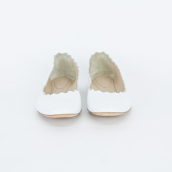 Chloe white Lauren leather flats round toe