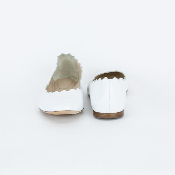Chloe white Lauren leather flats made in Italy