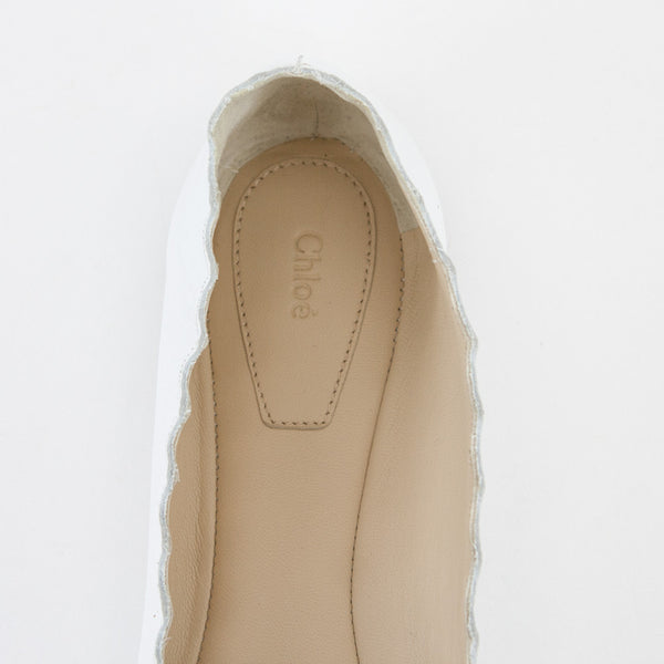 Chloe white Lauren leather flats branded insoles