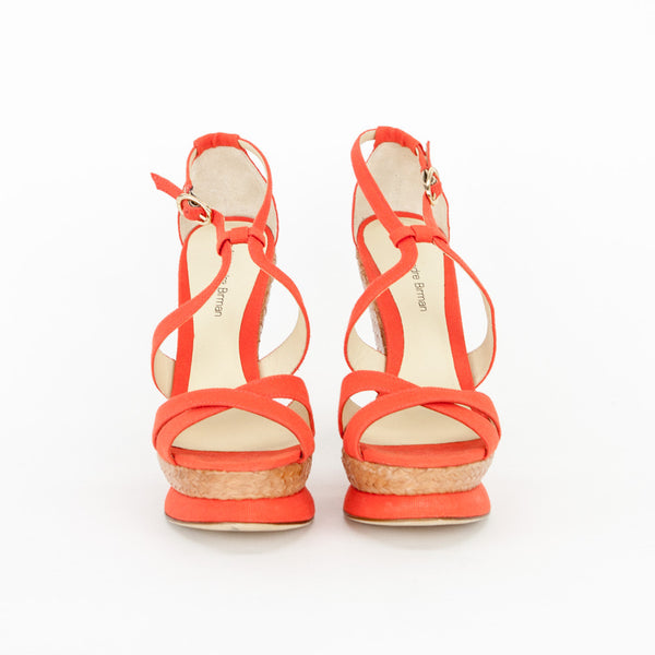 Alexandre Birman Coral Cloth Platform Wedges