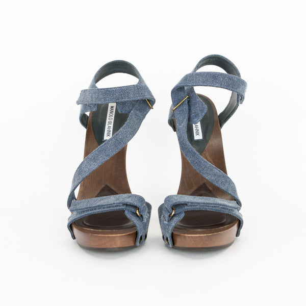 Cotton Denim High Heel Sandals