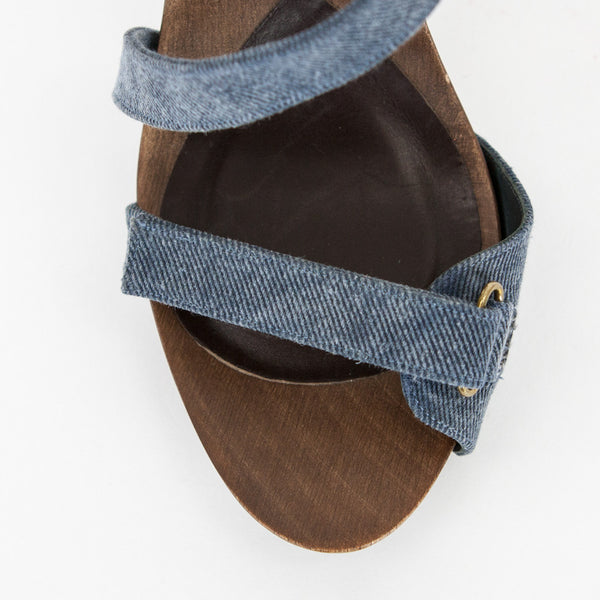 Wooden Insole with Velcro Toe Strap