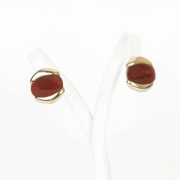 Kai-Yin Lo carnelian earrings set in gold plated sterling silver with omega clasp backs.