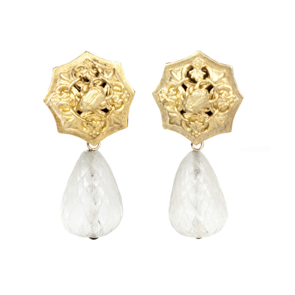 Stephen Dweck | Brass Filigree and Quartz Earrings