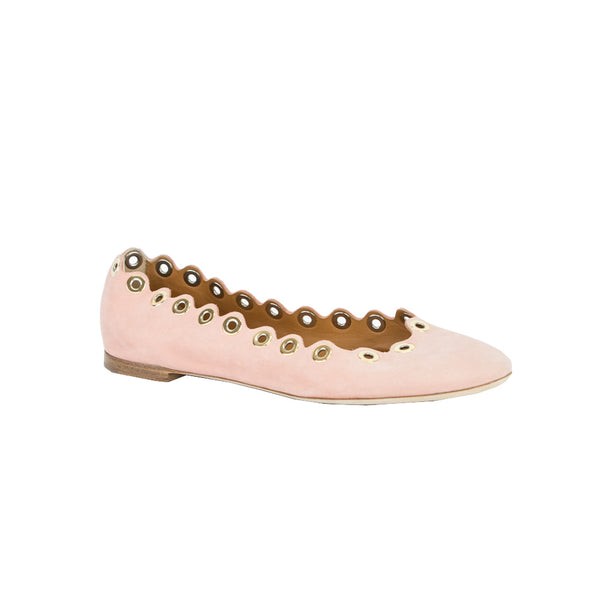 Chloe | Pink Flats With Gold Grommets