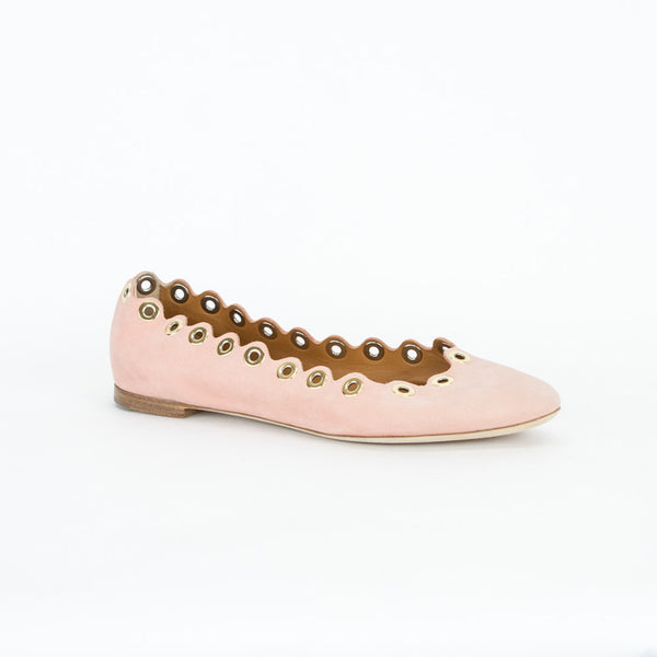 Chloe pink flats with gold grommets