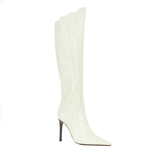 Giuseppe Zanotti | Light Cream Leather High Heel Boots