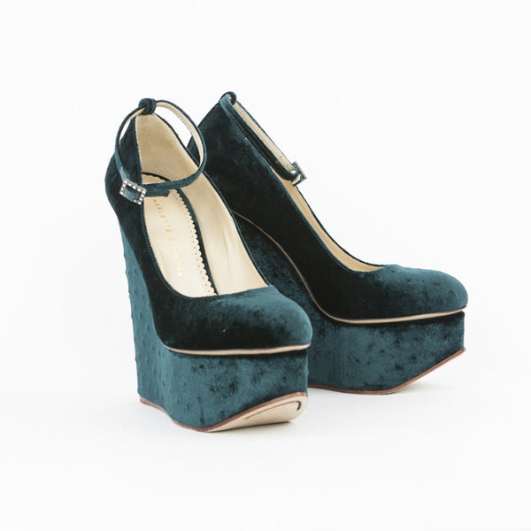 Charlotte Olympia Teal Carmen Ostrich Velvet Wedges With Ankle Strap