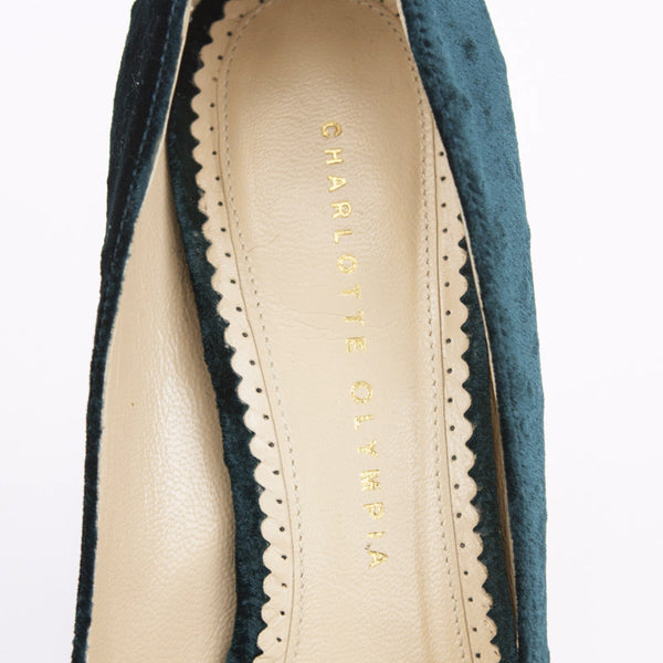Charlotte Olympia Teal Carmen Ostrich Velvet Wedges With Designer Name Stamped On Insoles