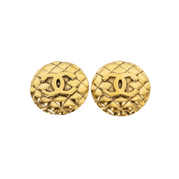Chanel Vintage Gold-Tone Quilted Disc Clip-On Earrings