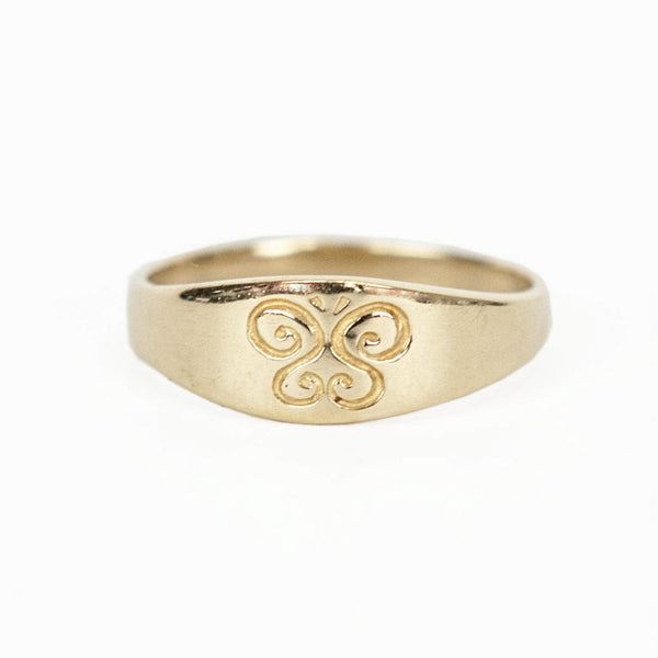 James Avery 14kg child's ring with a butterfly engraved on the top.