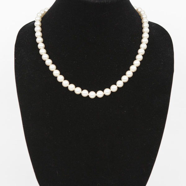 "Majorica 25"" luster knotted pearl vintage necklace"
