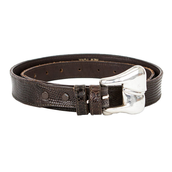 Kieselstein Cord | Dark Brown Leather Belt With Silver Buckle