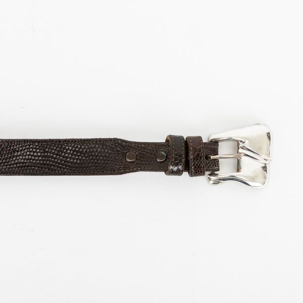 Kieselstein Cord dark brown lizard belt with two loops