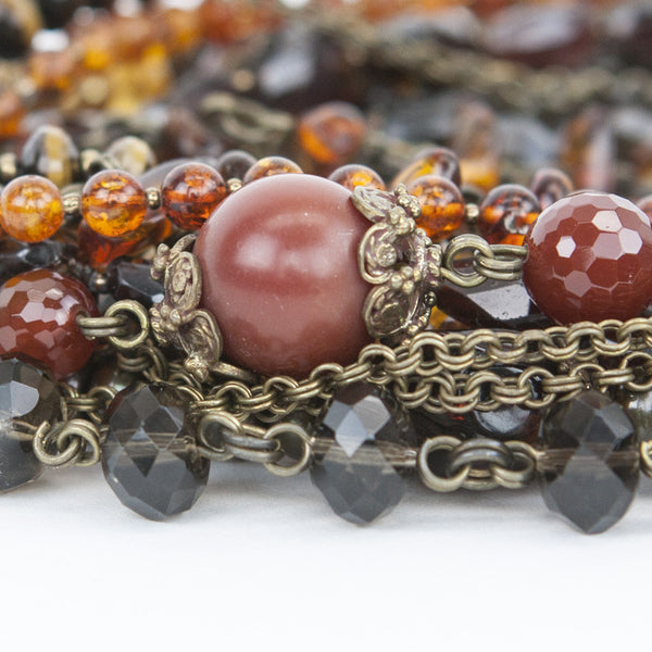 Brass tone clasp link necklace with tiger eye, amber, citrine, garnets, and fresh water pearls