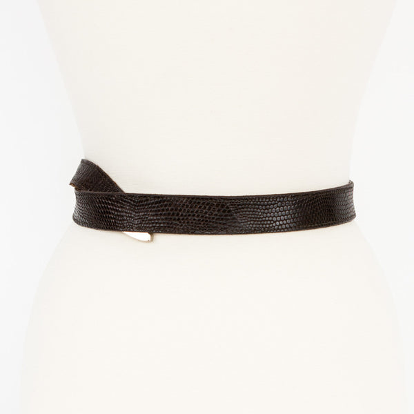 Kieselstein Cord dark brown lizzard belt silver tip