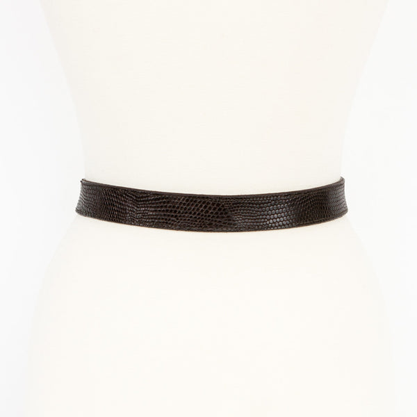 Kieselstein Cord dark brown lizard belt