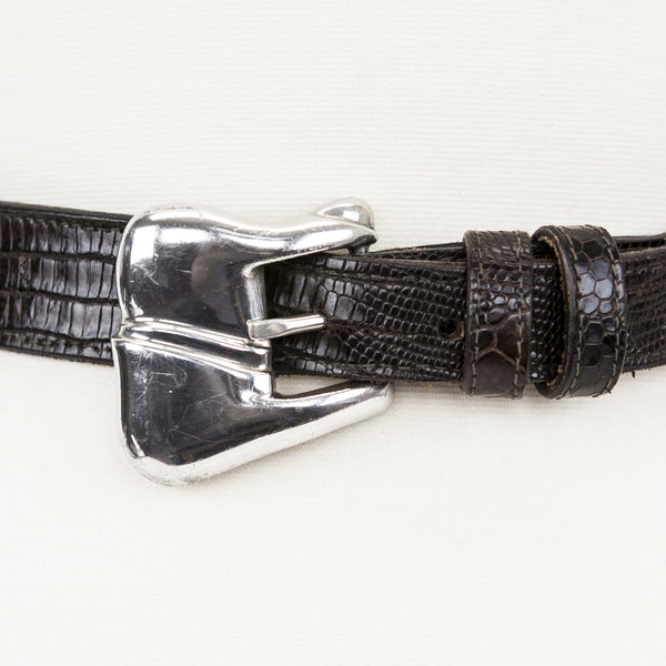 1978 Kieselstein Cord dark brown lizard belt