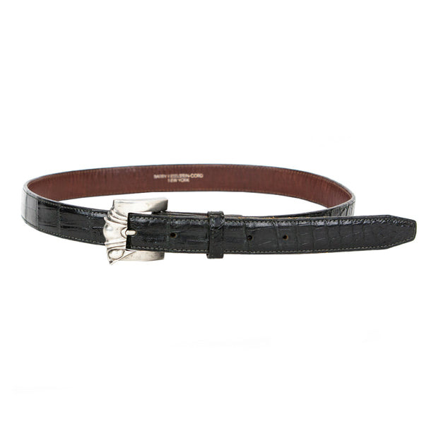 Kieselstein Cord | Alligator Belt With Silver Buckle