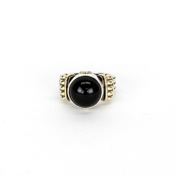 Lagos sterling silver onyx ring