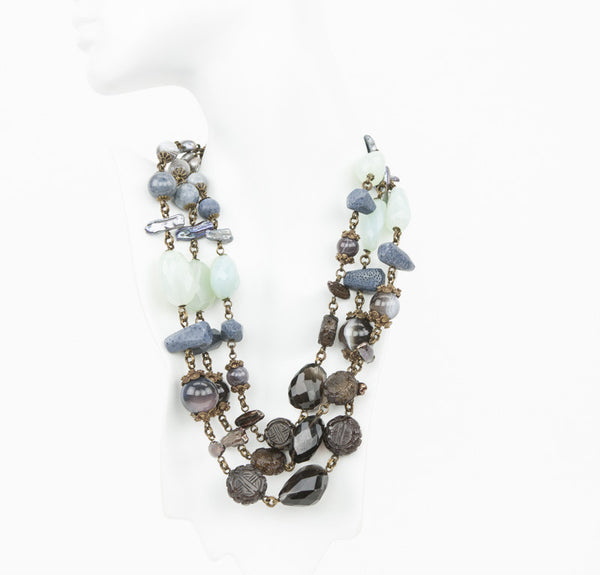 Bronze tone graduated links of blue coral, agate, aqua tone chalcedony, and fw pearls