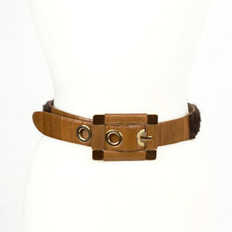 Dolce Gabbana Brown Faux Fur Leather Belt