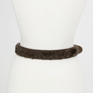 Dolce Gabbana Middle Pannel With Brown Faux Fur On Belt