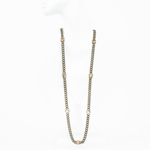 Long brass chain link necklace with square crystals