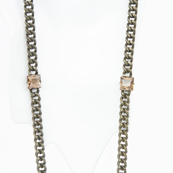 Brass chain link necklace with square melon colored crystals