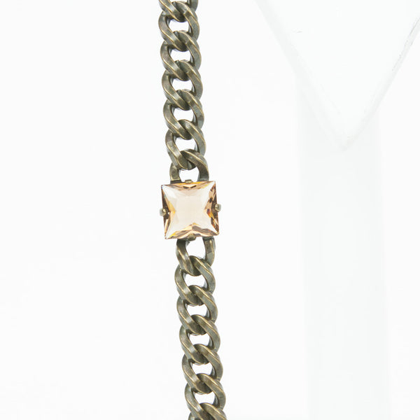Lanvin brass chain necklace with melon colored crystals