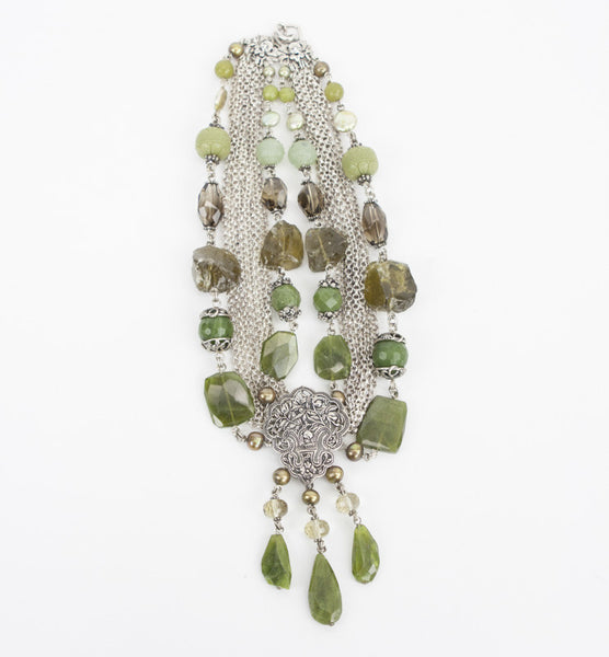 Stephen Dweck sterling silver and gemstone necklace