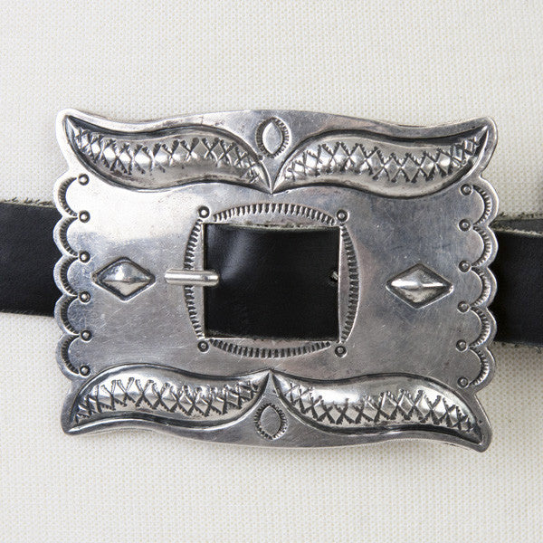 Vintage Leather Belt With Large Silver Buckle