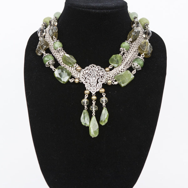 Stephen Dweck layered necklace with rough prasiolite, nephrite, smokey quartz, green agate, and fw pearls