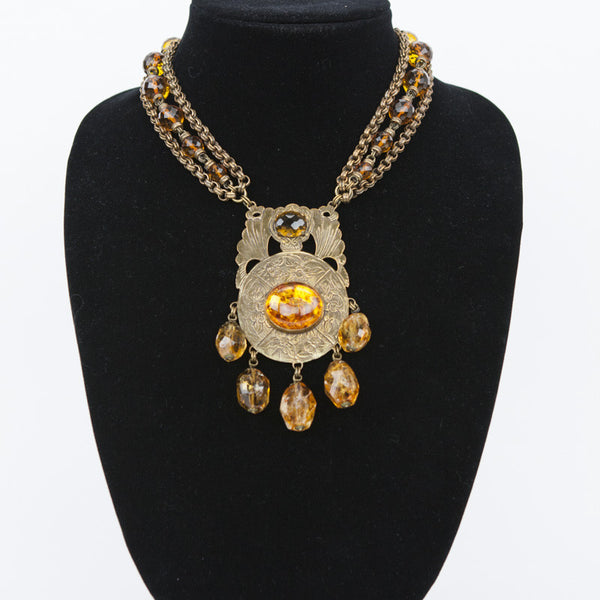 Stephen Dweck brass tone link necklace with faceted citrine and amber cabochon