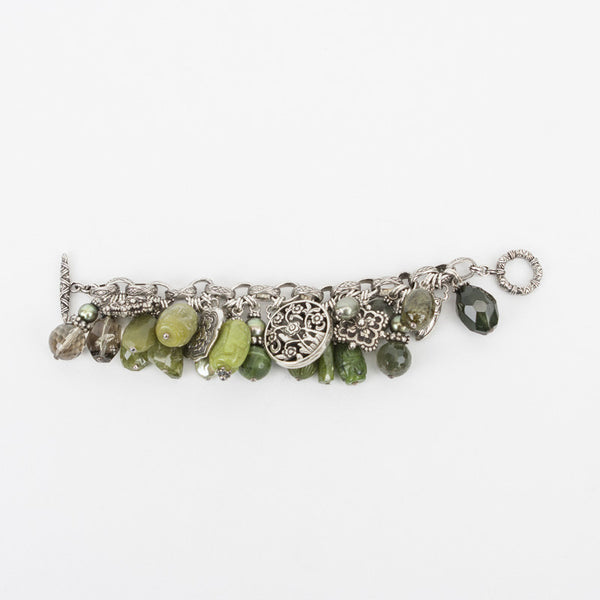 Stephen Dweck gemstone bracelet with charms(signature beetle is one of the charms)