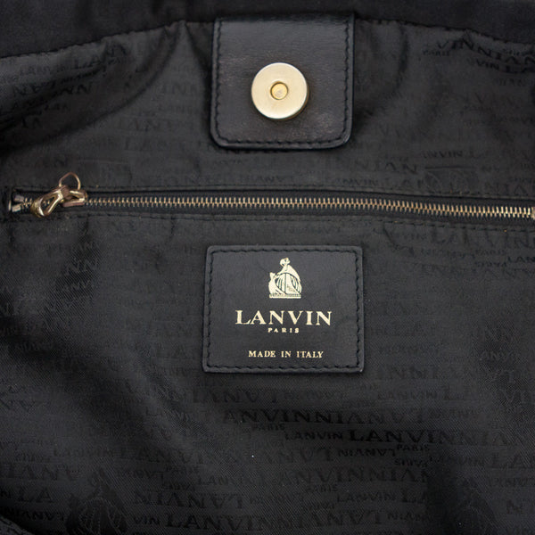 Lanvin Amalia black lambskin leather quilted tote with black ribbon and bow intertwined in chainlink shoulder straps.