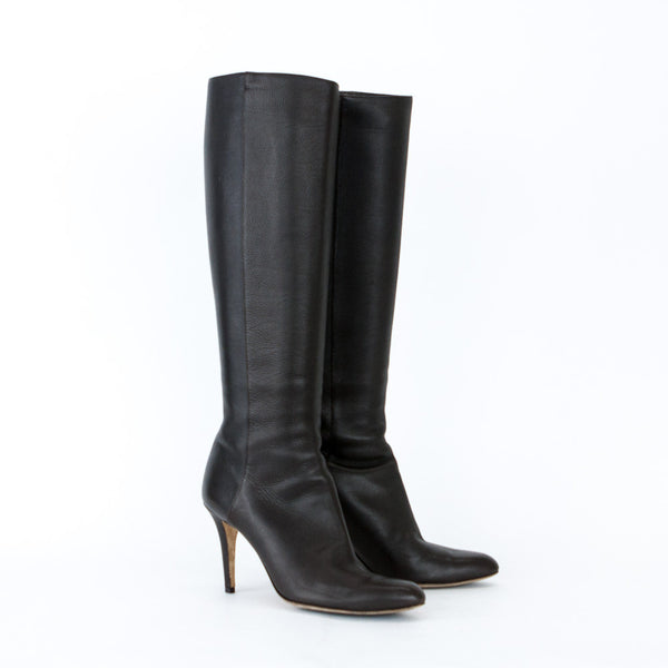 Jimmy Choo Dark Brown Leather High Heel Boots