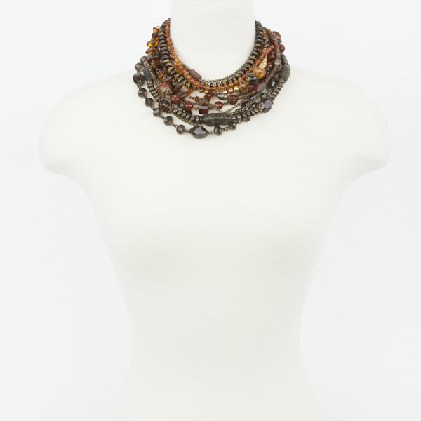 Stephen Dweck multi strand clasp link necklace with tiger eye, amber, citrine, garnets, and fw pearls